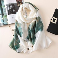 Luxury Brand Women Scarf Oversize Pure Silk Scarves and Bandana Female Foulard Big Long Shawl Fashion Brand New Flower Scarves