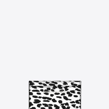 Saint Laurent Classic Letters Saint Laurent Credit Card Case In White And Black Babycat Printed Leather | ysl.com