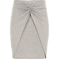 River Island Girls grey marl knot front skirt