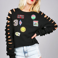 All Patched Up Sweater   Trendy Clothes at Pink Ice