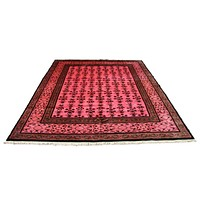 8x10 Overdyed Pink Art Deco Floral Wool Rug 2771