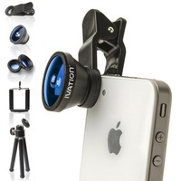 Ivation Universal 3-in-1 Smartphone Lens Kit w/180° Fisheye Lens, Wide-Angle Lens & Macro Lens - Includes Mini Tripod w/Ball Head - for The Apple iPhone 3g, 4, 4S, 5, 5s, 5c, iPhone 6, 6 Plus, iPod touch, iPad Mini