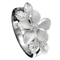 Sterling Silver Plumeria and Maile Leaf Synthetic CZ Ring