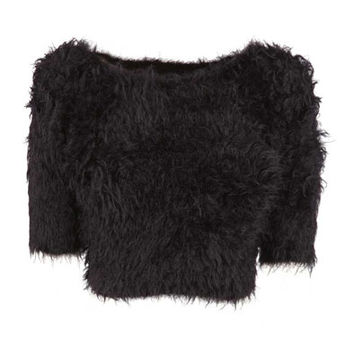 Black Fluffy Knitted Crop Jumper at Fashion Union