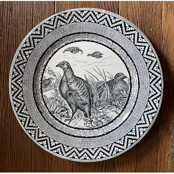 Wedgwood 1877 Antique Black Transferware Quail Game Bird Plate