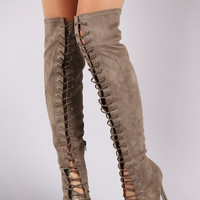 Suede Corset Lace Up Stiletto Over-The-Knee Boots