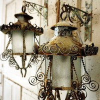 Distressed painted reclaimed electric vintage lanterns with hooks wall swags