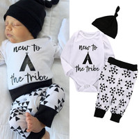2016 New Autumn Baby Boy Girl Clothes Infant Newborn Cotton Fashion Bodysuit Romper Pant Hat 3pcs Bebek Giyim Child Clothing