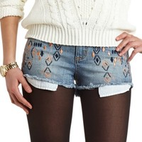 HOT KISS EMBROIDERED DENIM CUTOFF SHORTS