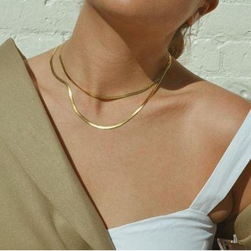 Gold Vermeil Herringbone Necklace 3mm - Made in Italy