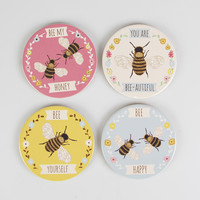 Set of 4 Bees Coasters   Bees   Sass & Belle