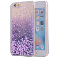 Purple Waterfall Glitter Bling Heart Love Shape Quicksand iPhone 6 Clear Case Hard PC With Soft TPU Frame SJK-004-3