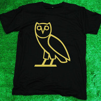 Drake OVO Octobers Very Own Owl  - T Shirt Tee Shirt Black Men/Unisex screen with gold