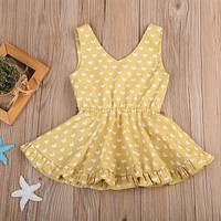 New Toddler Kids Baby Girl Floral Summer Bowknot Party Dress Sundress Clothes Cotton Casual Sleeveless A-Line Dresses Red Yellow