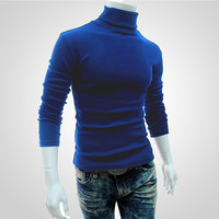hot Men's Turtleneck Sweaters Winter Autumn Long Sleeve High Collar Sweater Warm Bottom Pullovers Fashion Male Clothing