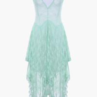 Lace Sheer High & Low Midi Dress in Mint