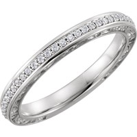 14k Gold 1/6 CTW Diamond Anniversary Band - White Rose or Yellow Gold