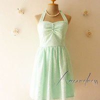 Mint Green Lace Dress Bridesmaid Dress Vintage Inspired  Dress Party Wedding Bridal Shower Prom Once Upon A Time -Size XS,S,M,L,Custom-