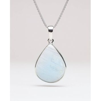 "Rainbow Moonstone Teardrop Pendant Necklace - 24"" Silver Chain"