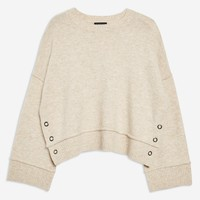 Stripe Popper Jumper | Topshop