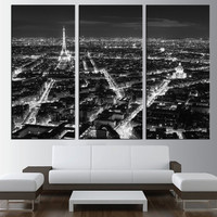 large canvas print, Eiffel Tower wall art, Paris skyline wall art, extra large wall art, city night wall decor canvas print wall art t163