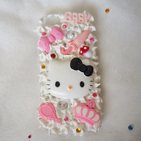 Hello kitty phone case, cabochon phonecase, cute phone case, iphone 5 case, kawaii phone case, girly case, hello kitty, cute iphone 5 case