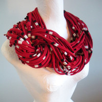 Chunky Deep Red Infinity Scarf Black White Stripes Upcycled Cowl Scarf Winter Accessories Gifts Under 75 Black Friday Etsy Cyber Monday Etsy