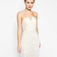 Jarlo | Jarlo Faye Bandeau Dress In Floral Lace With Mesh Panels at ASOS