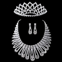 Bridal Wedding Prom Jewelry Crystal Diamante Necklace Crown Earring Set A02
