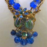 DeMario Green and Blue Crystal Demi Parure, Necklace & Bracelet