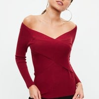 Missguided - Red Cross Front Skinny Ribbed Sweater