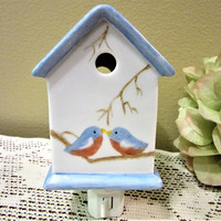 Night Light Plug In Birdhouse  Blue Birds Ceramic Porcelain Pottery bblmm