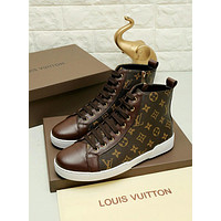 LV Louis Vuitton Men's Monogram Canvas Fashion High Top Sneakers Shoes