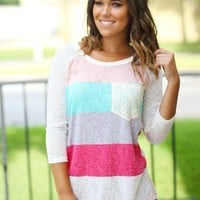 Coral and Mint Top with Crochet Pocket