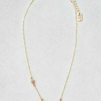 AEO Pink Stone Curved Bar Necklace , Gold