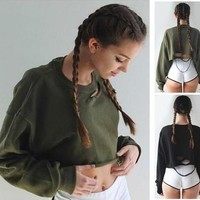Tops Autumn Ripped Holes Batwing Sleeve Crop Tops [7976010625]