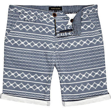 Blue aztec stripe turn up shorts - chino shorts - shorts - men