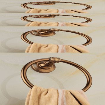 Antique bathroom accessories Towel Ring Shape Holder Rack Wall Mounted