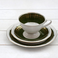 1920s German Teacup and Saucer Trio Set - White and Green Classic