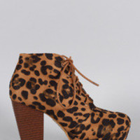 Women's Leopard Refined Lace Up Stacked Bootie