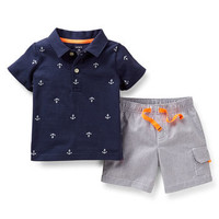2-Piece Print Polo and Short Set