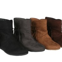 Story PARKER-04 Women's Flat Bottom Ankle Short Booties with Suede Upper and Side Draperies