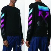 OFF WHITE Autumn Winter Fashion Couple Personality Colorful Gradient Print Long Sleeve Sweater Top Sweatshirt