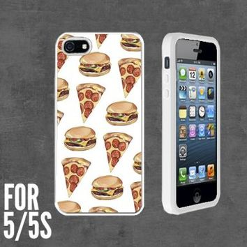 Yummy Pizza Cheezeburger Custom made Case/Cover/skin FOR Apple iPhone 5/5S - White - Rubber Case + FREE SCREEN PROTECTOR ( Ship From CA)