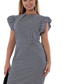 posh Plaid Print Plus Size  Dress Elegant Femme Party  Ladies Work Office red