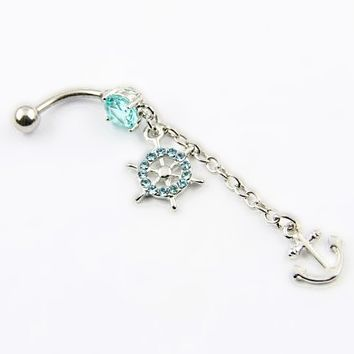 316l Surgical Steel 14g Navel Belly Ring Anchor Cz Crystal Gems Paved Ship's Wheel Piercing+ 1 Retainer