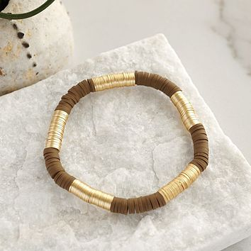 Gold and brown layering summer bracelet