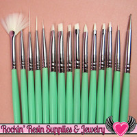 15 pcs NAIL ArT BRUSHES Seafoam Green / Nail Polish Manicure Tools / Dotting Painting Liners Drawing and Fan Brushes USA Shipping
