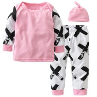 Newborn Baby Boys Girls Clothes Set Toddler Outfit Cotton Long Sleeve Tops Cross Printed Pants Hat Infant 3PCS Set Baby Clothing