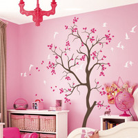 Large Nursery tree wall decal with Flying birds and cute leaves baby room wall mural sticker large tree Removable Vinyl D-126